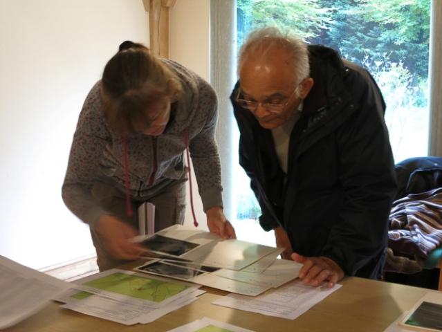 Volunteers looking at documents