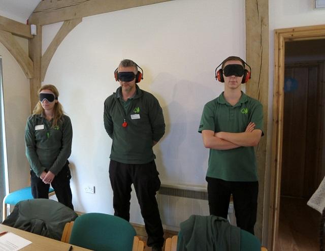 Volunteers blindfolded or wearing ear defenders