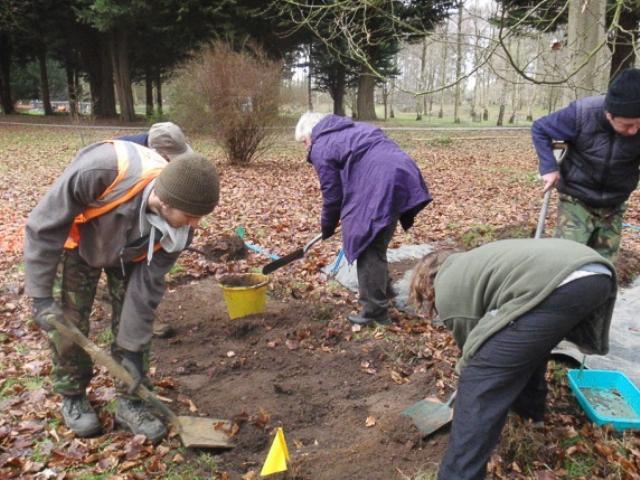 Digging a test pit