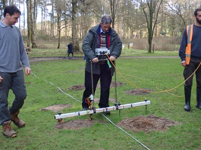 Using resistivity equipment.