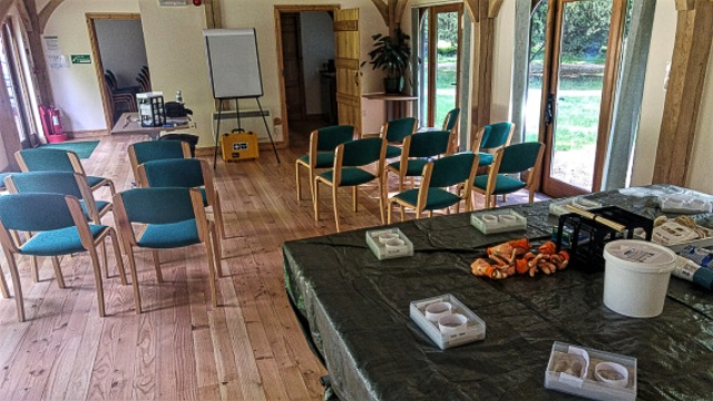 Oak Lodge set up for the workshop
