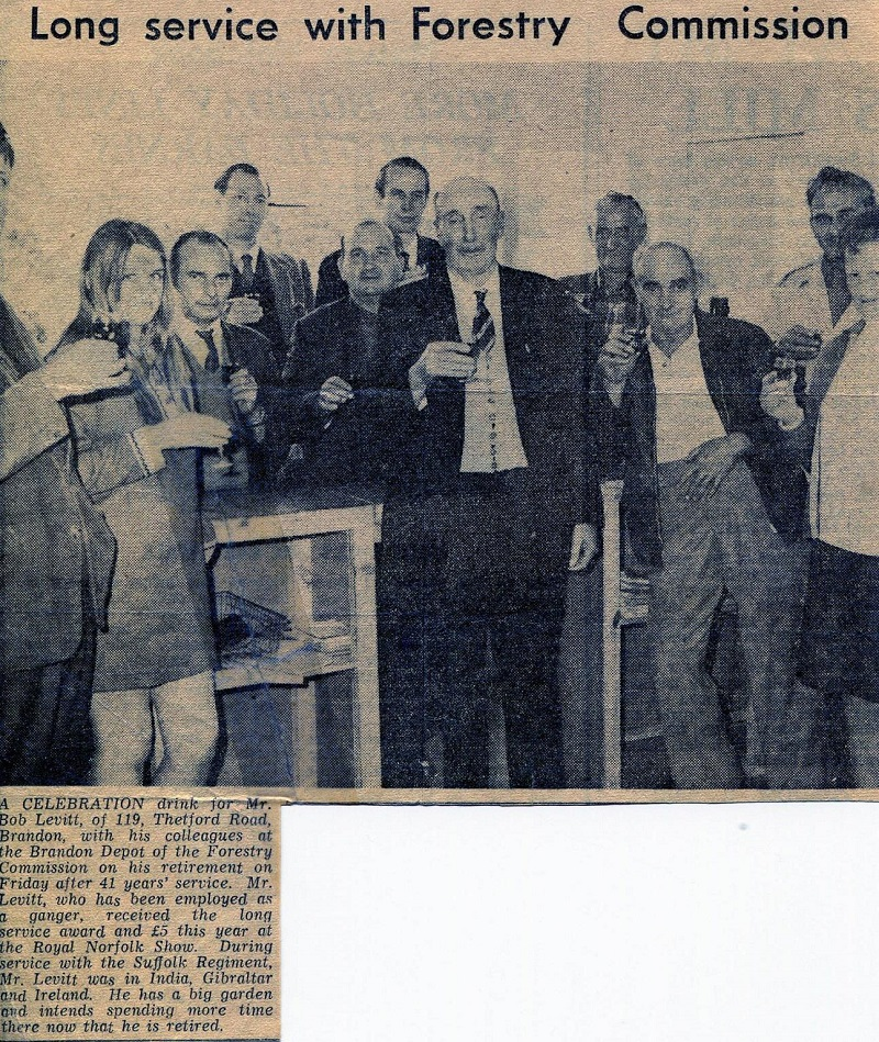 Bob Levett, centre of picture, he was Ganger at High Lodge when he retired.