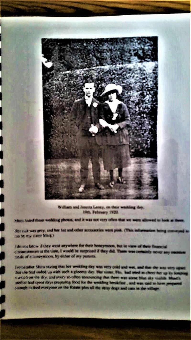 William & Jannetta Lenny on wedding day February 1923