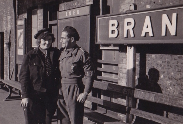 Warrant Officer Wiktor Lukaniuk with Hannah Harrington on the north Platform of Brandon station in 1946. Wiktor is expecting units of the Polish 2nd Corps to arrive from London after reloaction from Italy