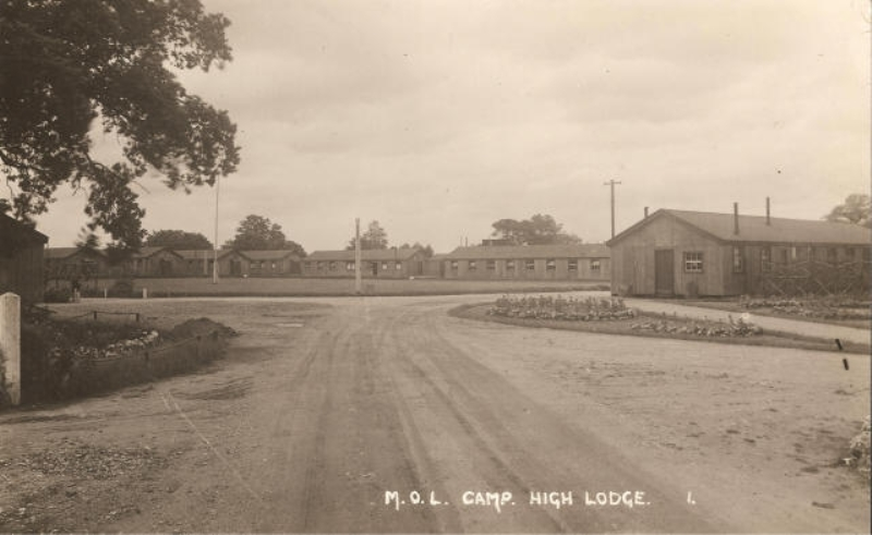 High Lodge Ministry of Labour Camp with road, which is now beside the turn into Oak Lodge