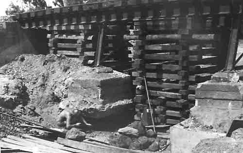 Crib work supporting a railway. Photograph by Bill Bradley